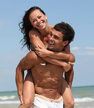 Fit couple in healthy relationship