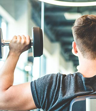 Man weight lifting for weight loss