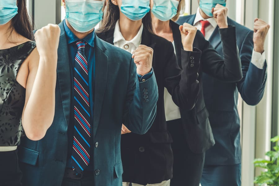 Confident Business People With Face Mask Protect From Coronavirus Or Covid-19