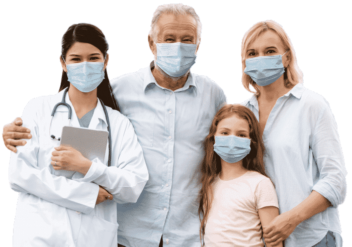 Family wearing masks with doctor